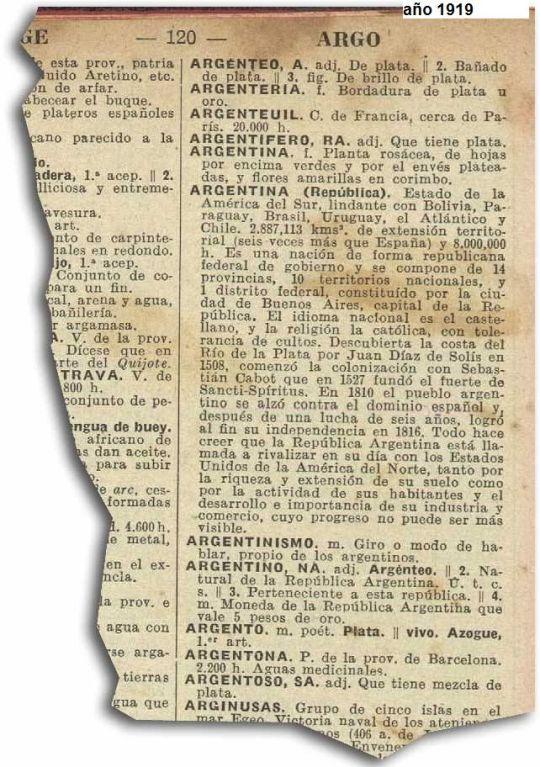 diccionario de 1919 - Argentina