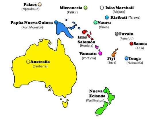 OCEANIA PAISES Y CAPITALES